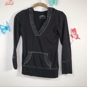 Justice Girls Black Hoodie with Studs  Size 8